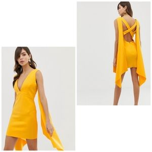 ASOS DESIGN Premium cape back mini dress marigold